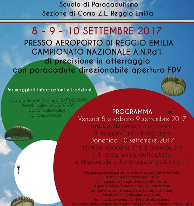 Campionato Anpd'I di precisione in atterraggio con paracadute fdv 2017
